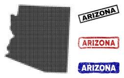 Mapa del estado de Arizona en Dot Style de semitono con los sellos del nombre del Grunge libre illustration