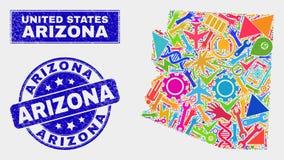 Mapa del estado de Arizona del servicio del mosaico y sello de Arizona de la desolación libre illustration