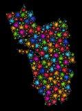 Mapa del estado de Goa del mosaico de las hojas coloreadas del cáñamo libre illustration