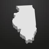 Mapa del estado de Illinois en gris en un fondo negro 3d Imagen de archivo libre de regalías