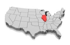 Mapa del estado de Illinois, los E.E.U.U. stock de ilustración