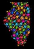 Mapa del estado de Illinois del mosaico de las hojas brillantes del cáñamo ilustración del vector