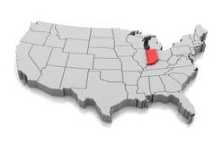 Mapa del estado de Indiana, los E.E.U.U. ilustración del vector