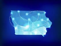 Mapa del estado de Iowa poligonal con los lugares de los proyectores