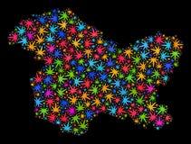 Mapa del estado de Jammu y Cachemira del mosaico de las hojas brillantes del cáñamo ilustración del vector
