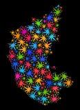 Mapa del estado de Karnataka del mosaico de las hojas brillantes del cáñamo ilustración del vector
