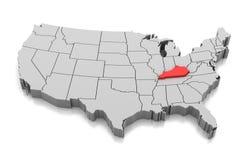 Mapa del estado de Kentucky, los E.E.U.U. Foto de archivo