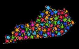 Mapa del estado de Kentucky del mosaico de las hojas coloreadas del cáñamo libre illustration