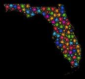 Mapa del estado de la Florida del mosaico de las hojas coloridas del cáñamo stock de ilustración