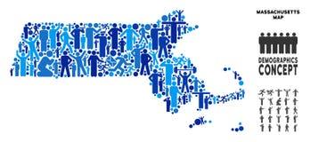 Mapa del estado de Massachusetts del Demographics stock de ilustración