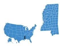 Mapa del estado de Mississippi libre illustration