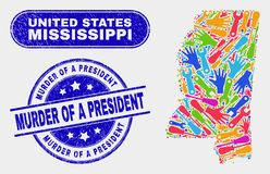 Mapa del estado de Mississippi de las herramientas y asesinato rasguñado de un presidente Seals libre illustration
