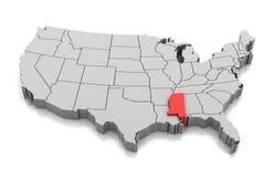 Mapa del estado de Mississippi, los E.E.U.U. libre illustration
