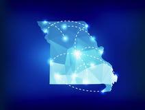 Mapa del estado de Missouri poligonal con los lugares de los proyectores