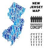 Mapa del estado de New Jersey del Demographics ilustración del vector