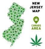 Mapa del estado de New Jersey de la composición del cáñamo del vector libre illustration