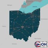 Mapa del estado Ohio, los E.E.U.U. ilustración del vector