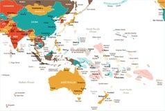 Mapa del Este de Asia y de Oceanía - ejemplo del vector ilustración del vector