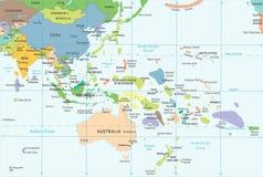 Mapa del Este de Asia y de Oceanía - ejemplo del vector stock de ilustración