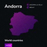 Mapa del extracto del vector de Andorra stock de ilustración