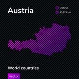 Mapa del extracto del vector de Austria en los colores del rosa, violetas y negros stock de ilustración