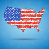 Mapa del garabato de los Estados Unidos de América El mapa del país del bosquejo para infographic, folletos y presentaciones, est stock de ilustración