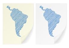 Mapa del garabato de Suramérica Fotografía de archivo