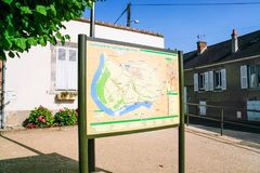 Mapa del Germigny-DES-Pres del commume Imagenes de archivo