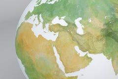 Mapa del globo con el Oriente Medio, Asia, el mediterráneo, África, Europa Imagenes de archivo