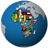 Mapa del globo con el mapa político de la unión africana ilustración del vector