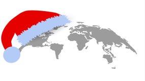 Mapa del globo en diseño plano Concepto de la Navidad Fotografía de archivo libre de regalías