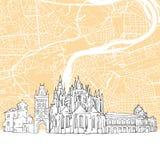 Mapa del horizonte de la República Checa de Praga stock de ilustración