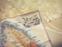 Mapa del La Digue Palmeras en el La Digue Fotografía de archivo libre de regalías