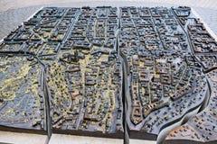 mapa del metal 3D de Zagreb en el cuadrado de ciudad, Croacia imágenes de archivo libres de regalías