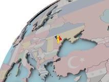 Mapa del Moldavia con la bandera Fotografía de archivo