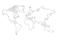 Mapa del mundo aislado Fotografía de archivo