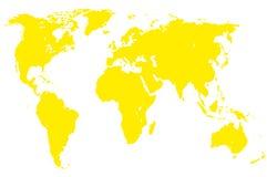 Mapa del mundo amarillo, aislado Fotografía de archivo libre de regalías