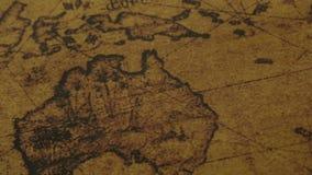 Mapa del mundo antiguo de los continentes de Australia almacen de metraje de vídeo