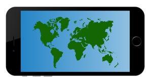 Mapa del mundo App de los continentes en el teléfono elegante ilustración del vector