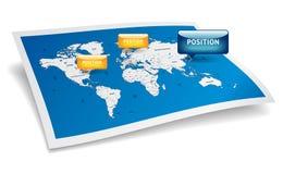 Mapa del mundo con las marcas de los gps Foto de archivo libre de regalías