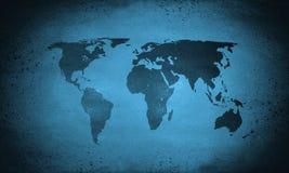 Mapa del mundo azul frío Foto de archivo libre de regalías