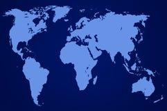 Mapa del mundo azul marino, aislado Imagen de archivo