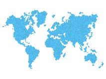 Mapa del mundo azul punteado aislado en blanco Vector Foto de archivo