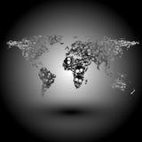 Mapa del mundo bajo la forma de vector del fondo de los cráneos Fotografía de archivo