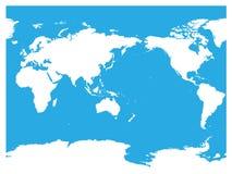 Mapa del mundo centrado de Australia y del Océano Pacífico Silueta blanca del alto detalle en fondo azul Ilustración del vector ilustración del vector