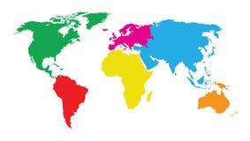 Mapa del mundo colorido de los continentes