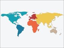 Mapa del mundo colorido de los continentes Foto de archivo libre de regalías