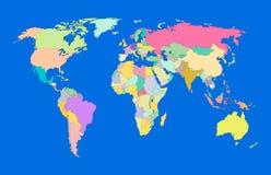 Mapa del mundo colorido del vector, mapa político en el fondo azul del océano, bandera decorativa libre illustration