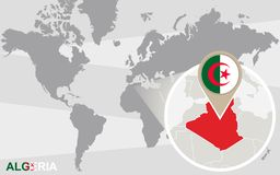 Mapa del mundo con Argelia magnificada