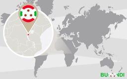 Mapa del mundo con Burundi magnificado